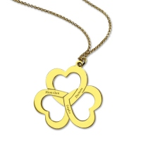 Triple Heart Necklace Gold Plated