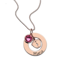 Personalized Baby Feet&Birthstone Necklace for New Mom In Rose Gold