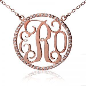 Rose Gold Circle Birthstone Monogram Initial Pendant Necklace