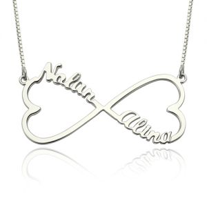 Gift for Her: Heart Infinity 2 Names Necklace Sterling Silver
