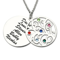 Fine quality Stamped Names Mother's Day Necklace with Family Tree