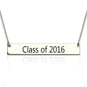 Amazing Sterling Silver Engraved Graduation Bar Necklace