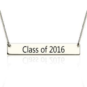 Sterling Silver Engraved Graduation Bar Necklace