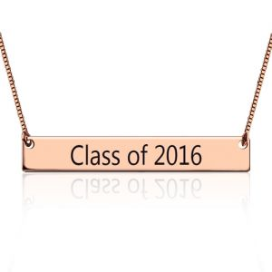 Engraved Graduation Bar Necklace Rose Gold Plated Silver