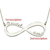 Personalized Infinity Symbol Double-Name Necklace Silver