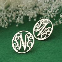 circle monogram earring
