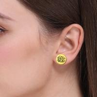 monogram stud earring