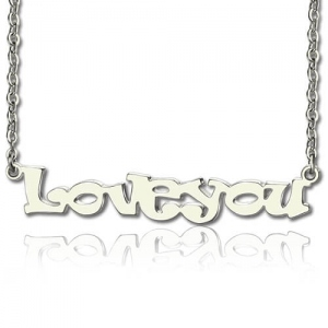 Cute Cartoon Ravie Font Solid White Gold Name Necklace
