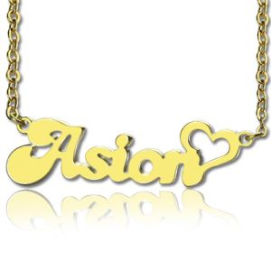 Custom Name Necklace in Gold with Heart