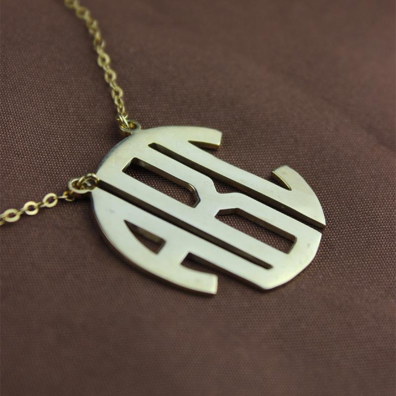 Solid Gold Initial Block Monogram Pendant Necklace 10k