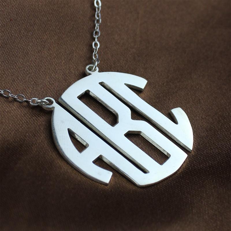 solid white gold initial block monogram pendant necklace. Black Bedroom Furniture Sets. Home Design Ideas