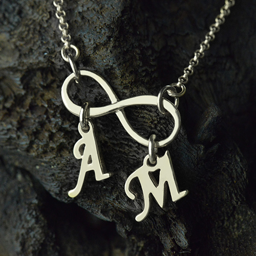 Personalized Infinity Necklace Double Initials Sterling Silver