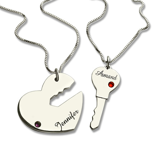 2a2417a587 Gifts For Him & Her: Key to My Heart Name Pendant Set For Couple