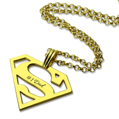 Personalized Fathers Day Superman Logo Necklace Gifts In Gold