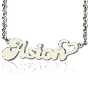 My Heart Name Necklace Personalized in Silver