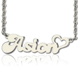 Durable Custom BANANA Font Heart Shape Name Necklace White Gold 10k/14k/18k