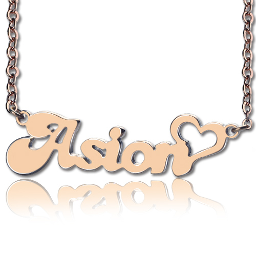 Personalized name necklace with heart rose gold mozeypictures Choice Image