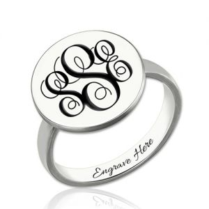Wonderful Disc Engraved Sterling Silver Monogram Signet Ring