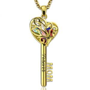 MOM Heart Cage Key Necklace With Birthstones Gold Plated