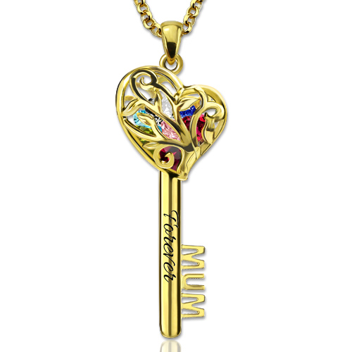 Mum Heart Cage Key Necklace With Birthstones Gold Plated