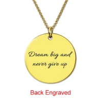 Disc Script Engraved Monogram Necklace 18K Gold Plated