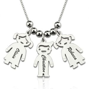 Engraved Kids Charms Necklace Sterling Silver