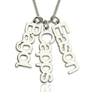 Customized Vertical Multi Names Necklace Sterling Silver