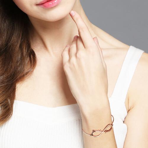 Bracelet Infini-2 Prénoms-Plaqué Or Rose