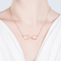 Infinity Name Necklace With Arrow Heart In Rose Gold
