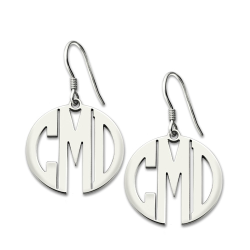 in from earrings round earring freeshipping item monogrammed jewelry initials nameplate monogram engraved personalized silver letter drop