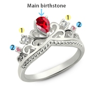 Romantic Birthstones Princess Crown Ring Silver