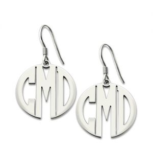Personalized Block Monogram Earrings Sterling Silver