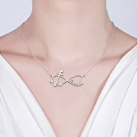 Forever Love Infinity Anchor Name Necklace Sterling Silver