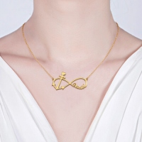 Forever Love Infinity Anchor Name Necklace Gold Plated