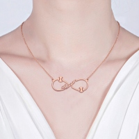 Infinity Sign Baseball Name Necklace In Rose Gold