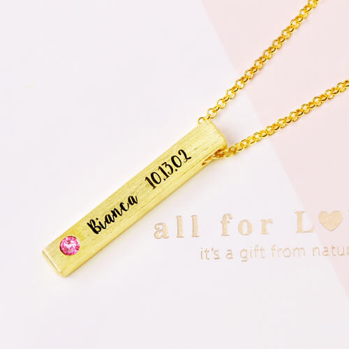f29753b3e0ae3 Engraved 4-Sided Bar Name Necklace With Birthstones Gold Plated