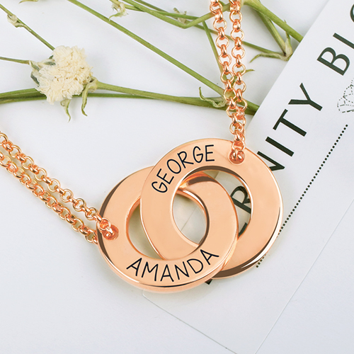 Personalized engraved russian ring interlocking two circle necklace rose gold for mother engraved interlocking two circle necklace rose gold aloadofball Choice Image