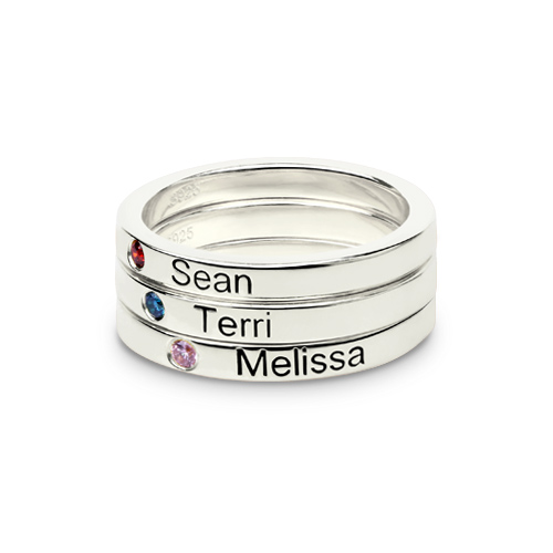 Mothers Stackable Name Ring With Birthstone Uk Size-5503