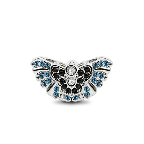 Butterfly Charm For Bracelets Fits Pandora Blue Topaz