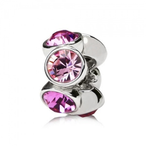 six round rose and pink birthstone charm