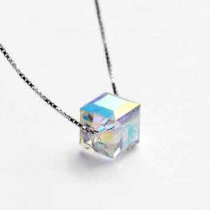 Collier Cristal Swarovski Aurora Borealis Cube