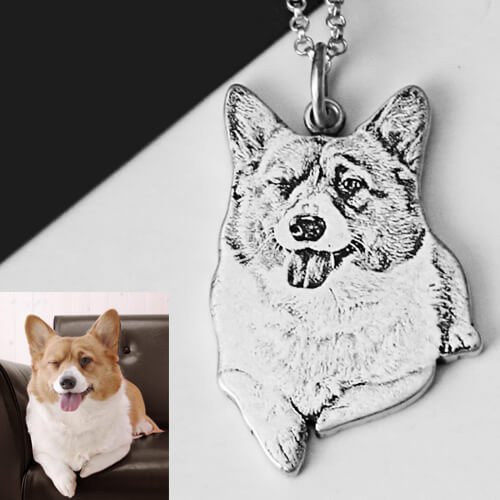 Personalized Sterling Silver Pet Memorial Photo Necklace