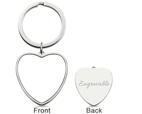 Engraved Heart Color Couple Photo KeyChain Stainless Steel