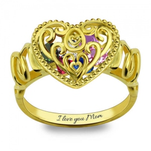 """MOM"" Heart Cage Ring With Birthstones Platinum Plated"