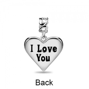 """I Love You"" Heart Charm Sterling Silver with Swarovski Crystals"
