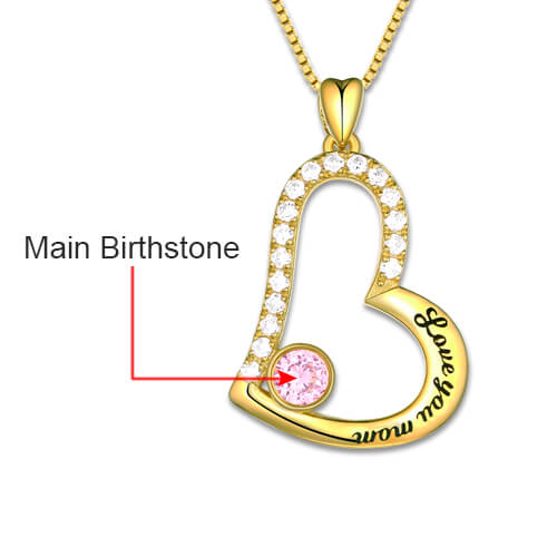 heart necklace with birthstone