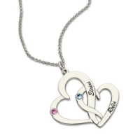 Hearts Name Silver Necklace