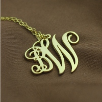 Personalized 2 Initial Monogram Necklace 18K Gold Plated