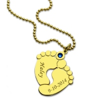 Memory Baby's Feet Charms Pendant with Birthstone 18K Gold Plated
