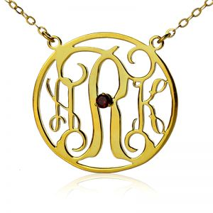18k Gold Plated Circle Initial Monogram Necklace with Birthstone